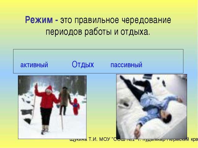 активный Отдых пассивный Режим - это правильное чередование периодов работы...