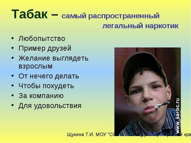 Табак – самый распространенный легальный наркотик Любопытство Пример друзей Ж...