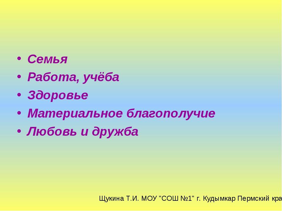 Семья Работа, учёба Здоровье Материальное благополучие Любовь и дружба Щукина...