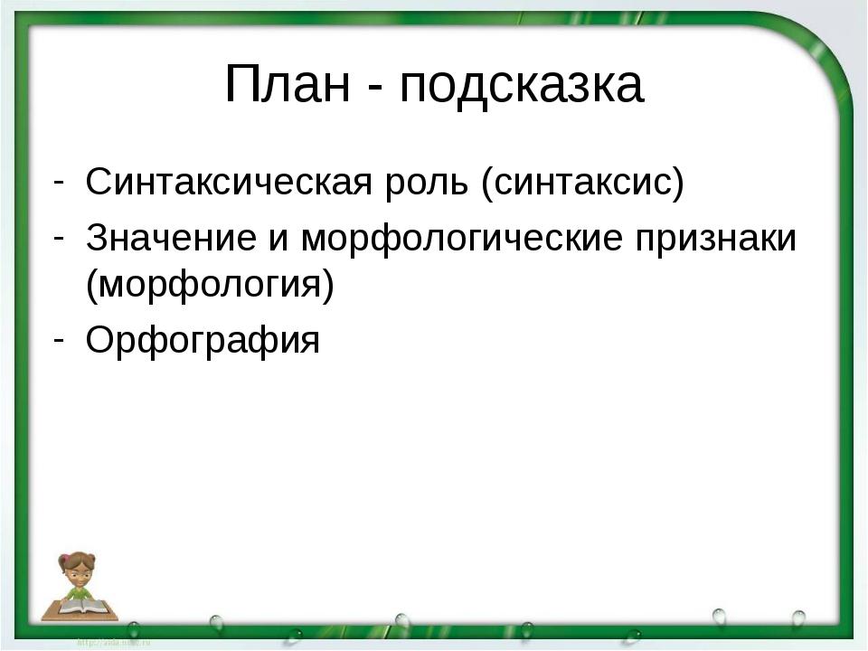 План - подсказка Синтаксическая роль (синтаксис) Значение и морфологические п...