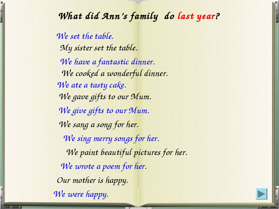 What did Ann's family do last year? We have a fantastic dinner. We set the ta...