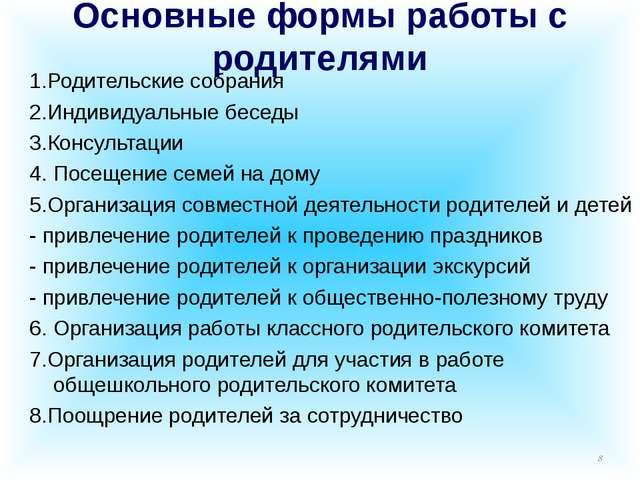 Основные формы работы с родителями 1.Родительские собрания 2.Индивидуальные б...
