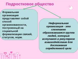 Подростковое общество Формальная организация представляет собой способ органи