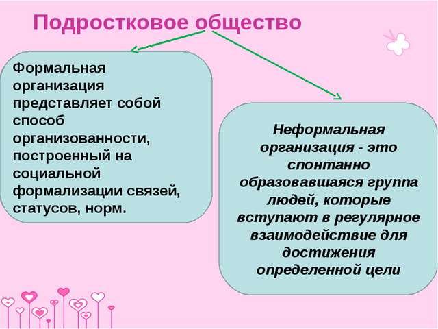 Подростковое общество Формальная организация представляет собой способ органи...