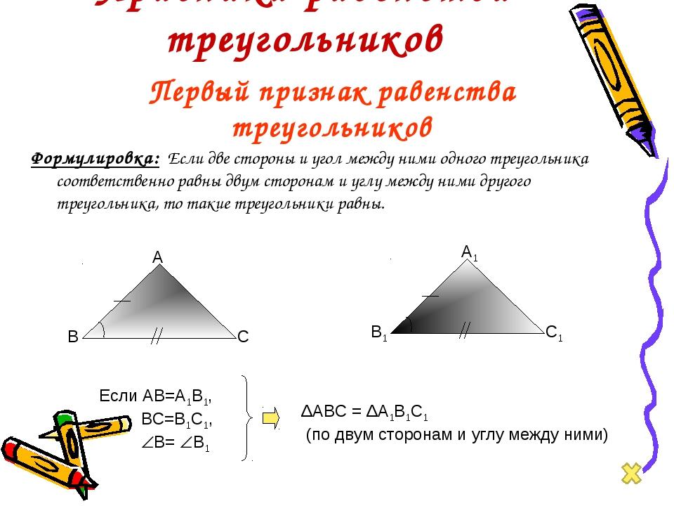 Признаки равенства треугольников Формулировка: Если две стороны и угол между...