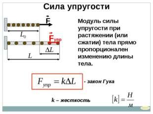 k – жесткость Сила упругости - закон Гука Модуль силы упругости при растяжени