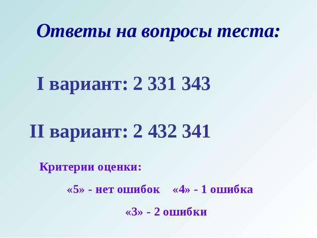 Ответы на вопросы теста: I вариант: 2 331 343 II вариант: 2 432 341 Критерии...