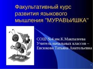 """Факультативный курс развития языкового мышления """"МУРАВЬИШКА"""" СОШ №4 им.К.Макп"""