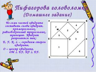 Пифагорова головоломка (Домашнее задание) Из семи частей квадрата составить