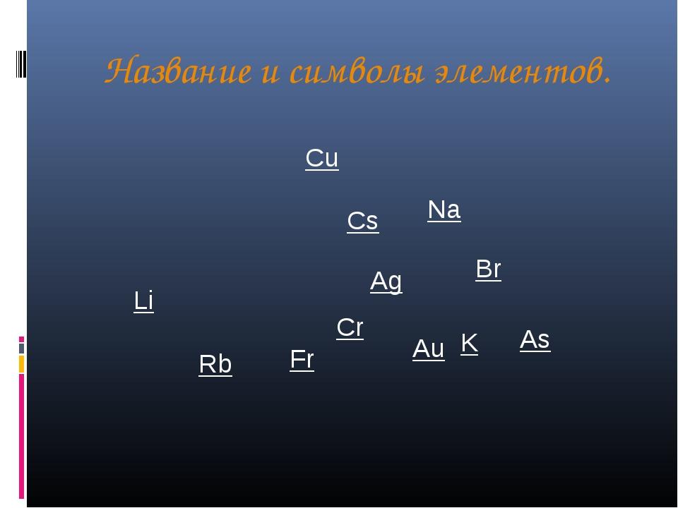 Название и символы элементов. Ag Cr K Li Na Rb Cs Fr Cu Br Au As