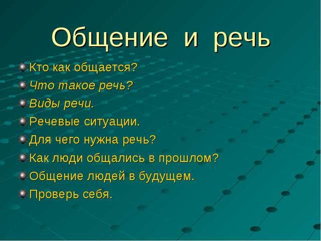 Общение и речь Кто как общается? Что такое речь? Виды речи. Речевые ситуации....
