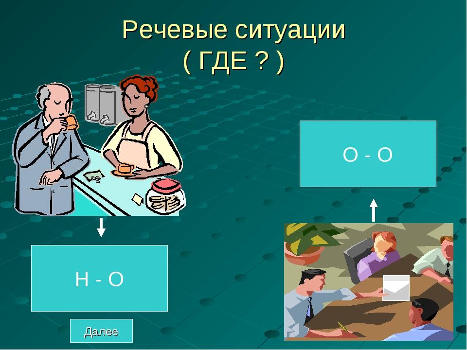 Речевые ситуации ( ГДЕ ? ) Н - О О - О Далее