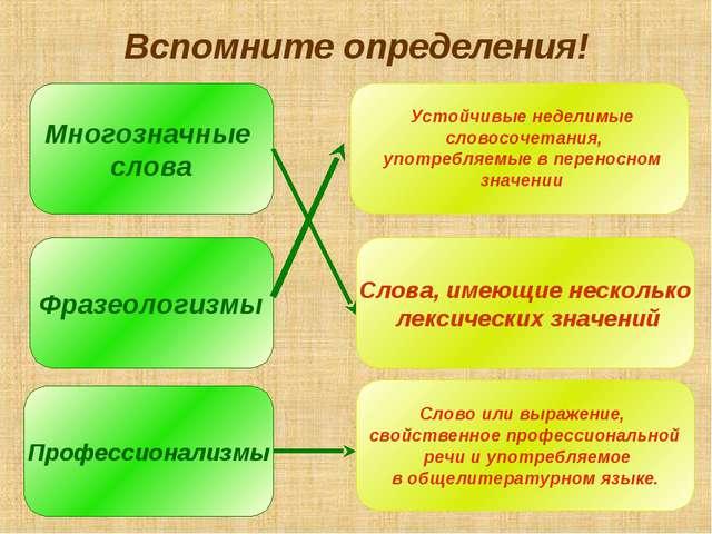 Вспомните определения! Многозначные слова Фразеологизмы Профессионализмы Слов...