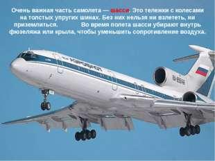 Очень важная часть самолета — шасси. Это тележки с колесами на толстых упруги