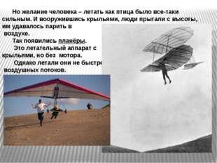 Но желание человека – летать как птица было все-таки сильным. И вооружившись