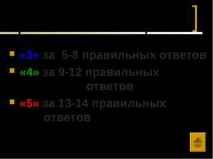 Выставляется оценка: «3» за 5-8 правильных ответов «4» за 9-12 правильных  о