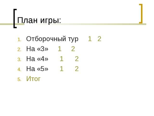 План игры: Отборочный тур 1 2 На «3» 1 2 На «4» 1 2 На «5» 1 2 Итог