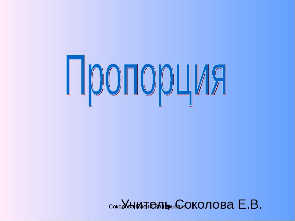 Учитель Соколова Е.В. Соколова Елена Валерьевна Соколова Елена Валерьевна