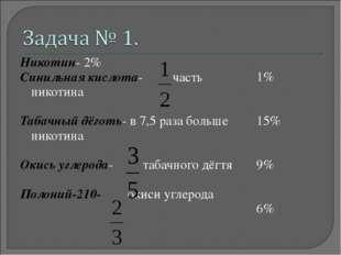 Никотин- 2% Синильная кислота- часть никотина Табачный дёготь- в 7,5 раза бол
