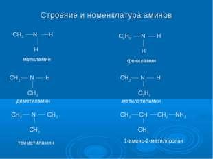 Строение и номенклатура аминов CH3 N H H CH3 N H CH3 CH3 N CH3 CH3 C6H5 N H H