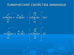 Химические свойства аммиака H H N H + H OH H N H OH H H δ+ δ- + - H H N H + H