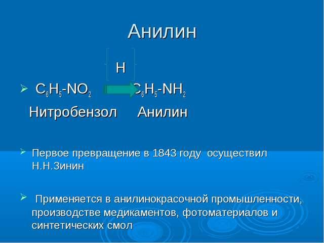 Анилин H С6Н5-NO2 С6Н5-NН2 Нитробензол Анилин Первое превращение в 1843 году...