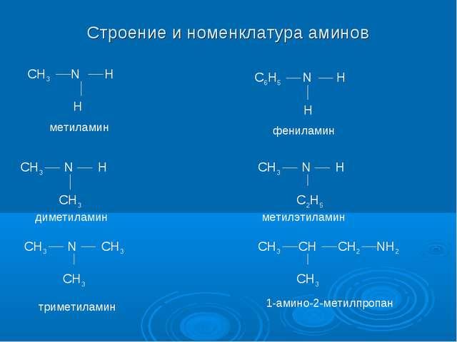 Строение и номенклатура аминов CH3 N H H CH3 N H CH3 CH3 N CH3 CH3 C6H5 N H H...