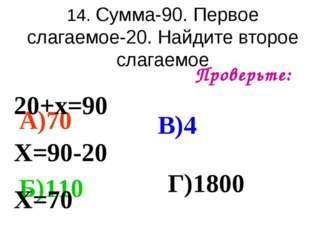 14. Сумма-90. Первое слагаемое-20. Найдите второе слагаемое Проверьте: А)70 Б
