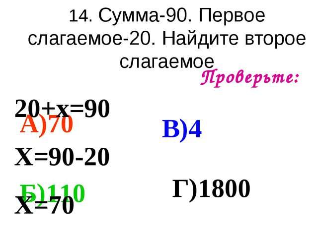 14. Сумма-90. Первое слагаемое-20. Найдите второе слагаемое Проверьте: А)70 Б...