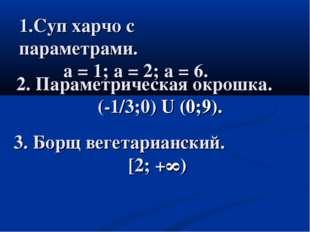 1.Суп харчо с параметрами. а = 1; а = 2; а = 6. 2. Параметрическая окрошка. (