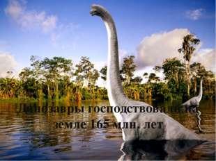 Динозавры господствовали на земле 165 млн. лет