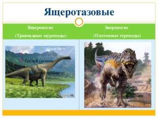 Ящероногие (Травоядные зауроподы) Звероногие (Плотояные тероподы) Ящеротазовые