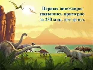 Первые динозавры появились примерно за 230 млн. лет до н.э.