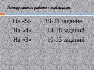 Разноуровневая работа с таблицами. На «5» 19-21 задание На «4» 14-18 заданий