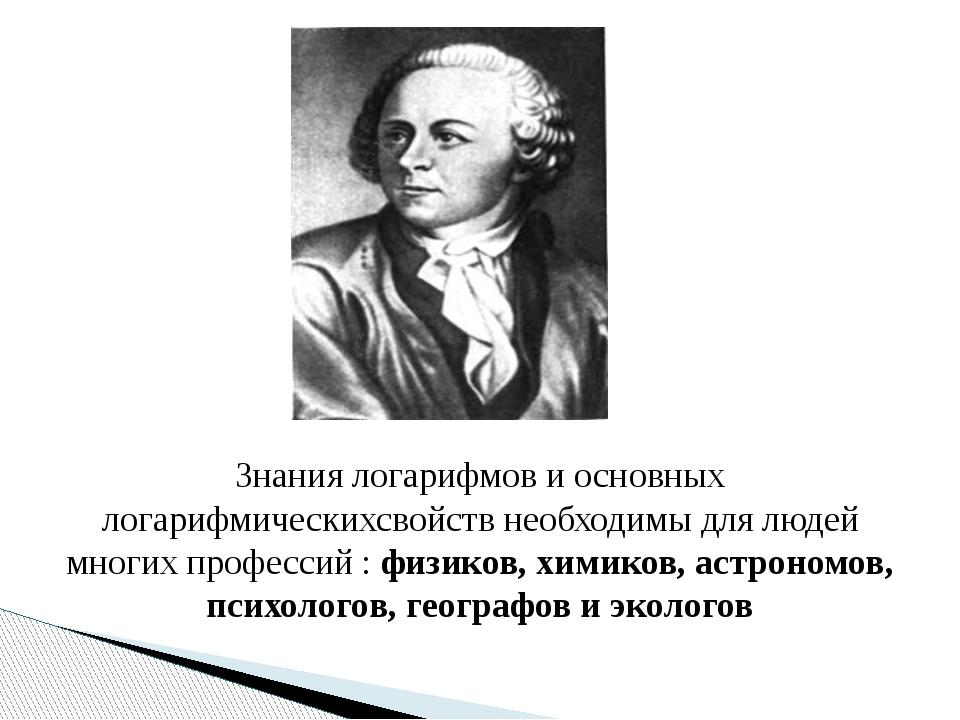 Знания логарифмов и основных логарифмическихсвойств необходимы для людей мно...