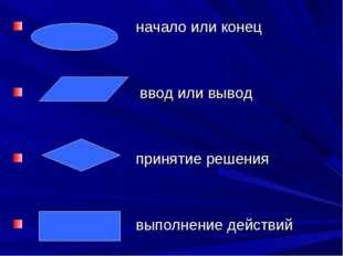 начало или конец ввод или вывод принятие решения выполнение действий