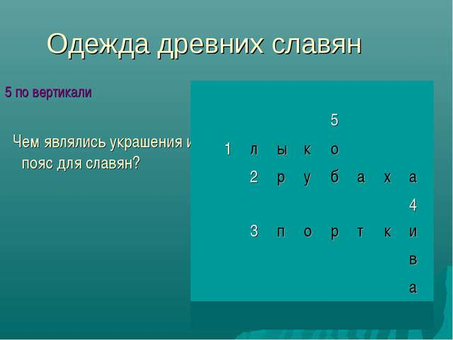 Одежда древних славян 5 по вертикали Чем являлись украшения и пояс для славян...