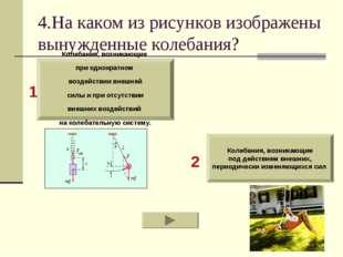 4.На каком из рисунков изображены вынужденные колебания? Колебания, возникающ
