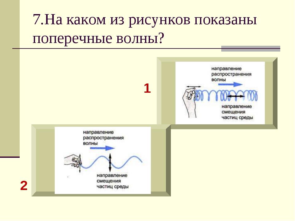 7.На каком из рисунков показаны поперечные волны? 1 2