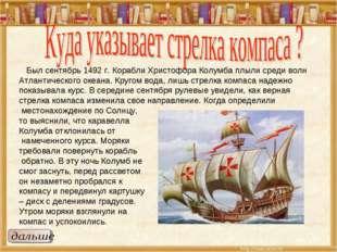 Был сентябрь 1492 г. Корабли Христофора Колумба плыли среди волн Атлантическ