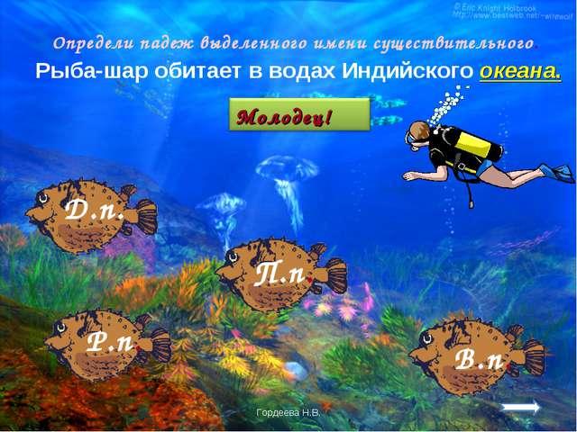 Определи падеж выделенного имени существительного. Рыба-шар обитает в водах И...
