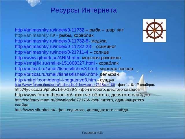 Ресурсы Интернета http://animashky.ru/index/0-11?32 – рыба – шар, кит http://...