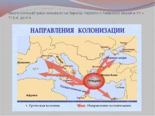 Много колоний греки основали на берегах Черного и Азовского морей в YII – YI