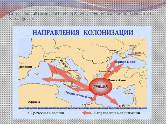 Много колоний греки основали на берегах Черного и Азовского морей в YII – YI...