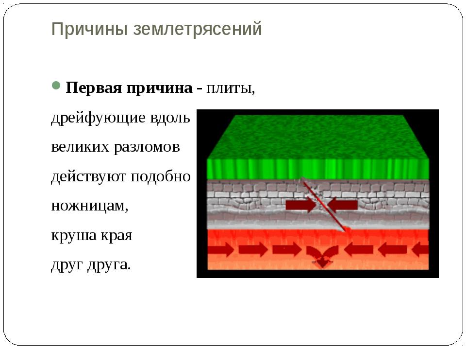 Причины землетрясений  Первая причина - плиты, дрейфующие вдоль  великих р...