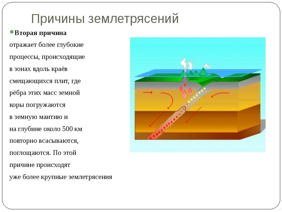 Причины землетрясений  Вторая причина отражает более глубокие процессы, пр...