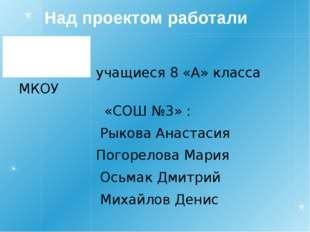 Над проектом работали учащиеся 8 «А» класса МКОУ «СОШ №3» : Рыкова Анастасия