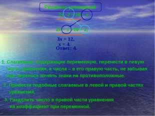 3x = 12, Ответ: 4. x = 4. 1. Слагаемые, содержащие переменную, перенести в ле