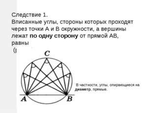 Следствие 1. Вписанные углы, стороны которых проходят через точки А и В окруж