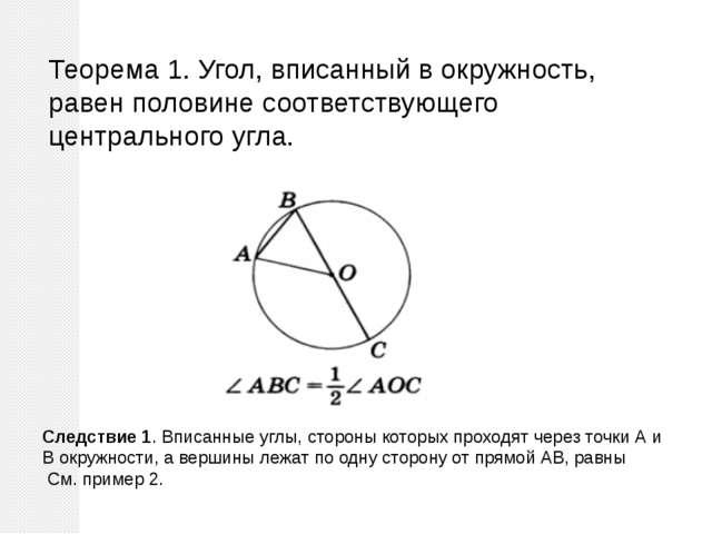 Теорема 1. Угол, вписанный в окружность, равен половине соответствующего цент...